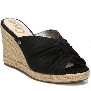 Black Espadrilles Platform Wedges Peep Toe Sandals
